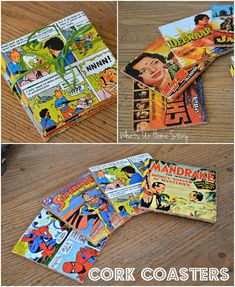 Comic book cork coasters, vintage movie poster cork coasters, diy cork coasters