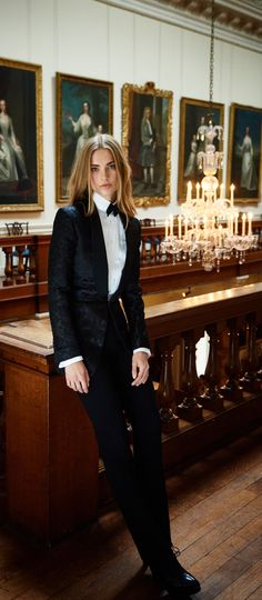 The evening tuxedo reimagined for the modern woman, presented at the Ralph Lauren event at Althorp