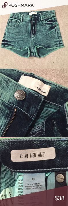 Garage retro high waisted shorts Teal blue high waisted shorts, only worn twice. Basically brand new, bought in store at Garage. Size 00 Garage Shorts Jean Shorts