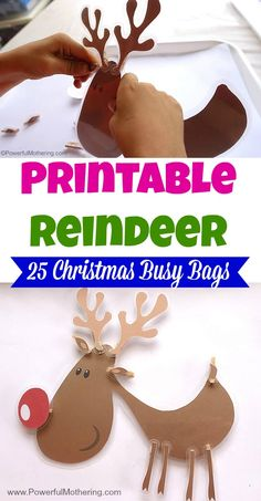 Print out this cute reindeer and have an anatomy lesson by reattaching his limbs! Great for fine motor skills as well. Part of the 25 Christmas Busy Bags Series.