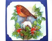 """Carte postale de voeux et son enveloppe ."""" Joli Rouge-gorge """". : Cartes par matt-et-les-petits-cadeaux"""