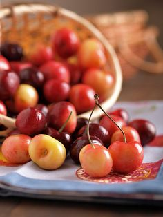 Rainier Cherries.  sweetest, prettiest, most pampered of all cherries. Developed in 1952 at Washington State Univ.