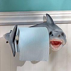 Amazon.com: Design Toscano Shark Attack Bathroom Toilet Paper Holder, Multicolor: Home & Kitchen