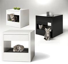 Bloq van Binq Design Holland; designkastje + katten'mand' ineen. Verkrijgbaar in meerdere varianten.