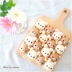 リラックマ&コリラックマちぎりパン♡ Japanese Cake, Japanese Sweets, Puff And Pie, Cute Marshmallows, Cute Bento Boxes, Cute Baking, Bread Shaping, Unicorn Foods, Cute Buns