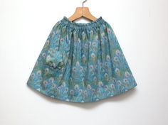 Girls summer skirt Toddler girls ruffled waist skirt from liberty Peacock feather fabric by ZanziBach