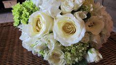 Jenny's bouquet.  Garden Roses, natural hydrangeas, white Vivienne Spray roses. #whitebouquets