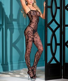 Loving this Black Floral Lace Bodysuit - Plus on #zulily! #zulilyfinds