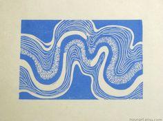riverbend sky blue  handprinted linocut print 8x10  by nourart, $18.00