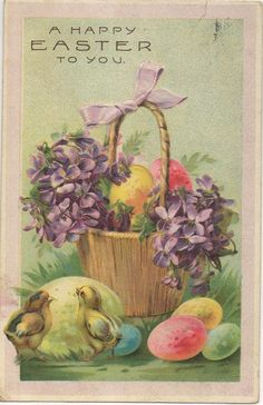 Easter basket with eggs and chicks