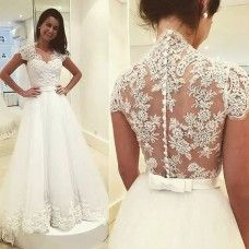 A-line Illusion Back Cap Sleeves Lace Bridal Dresses