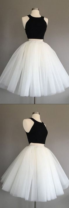 Buy Ivory Tulle Halter Knee-Length Two Piece Sleeveless Homecoming Dress,Cheap Prom Dresses Short,Graduation Dress,Short Prom Dresses at www.simidress.com