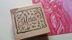tampon merci gravé à la main rose, fleurs, flowers, rubberstamp, handmade, thanks Rose de Biboun