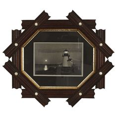 Folk Art Octagonal Picture Frame with Lighthouse Photo | From a unique collection of antique and modern frames at http://www.1stdibs.com/furniture/wall-decorations/frames/