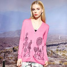 funny pattern print sweater cardigan