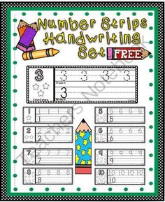 Number Strips Handwriting Set ~Free~ from A Teacher in Paradise on TeachersNotebook.com (5 pages)  - A fun way for your kiddos to practice writing their numbers 1-10. You can laminate these handwriting number strips to use as wipe off mats or they can be used as worksheets.