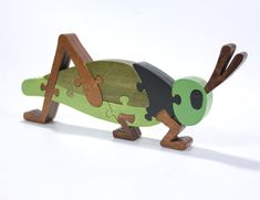 Green Grasshopper Puzzle and Room Decoration by berkshirebowls Puzzles Für Kinder, Puzzles For Kids, Scroll Saw Patterns, Wooden Puzzles, Wood Toys, Handmade Toys, Handmade Wooden, Kids Toys, Toddler Toys