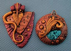 They put a stone and wire in a polymer clay pendant before they baked it...Didn't know you could do that!