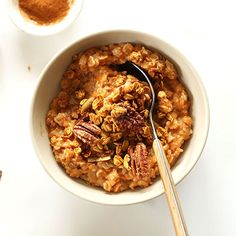 Sweet Potato Pie Oats Simple, oatmeal infused with roasted sweet potato, cinnamon, brown sugar, and a pumpkin-pecan granola topping! Healthy Breakfast Options, Best Breakfast, Healthy Snacks, Breakfast Skillet, Healthy Breakfasts, Baker Recipes, Cooking Recipes, Brunch Recipes, Breakfast Recipes