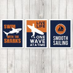 Set of 3 Kids Surf Room Prints Surfer Themed by ProjectCottageInk, $45.00