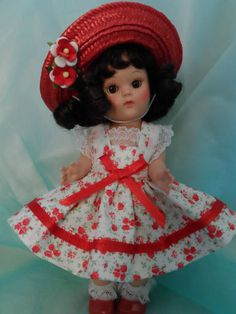 Red roses dress and hat for Ginny and Muffy dolls.