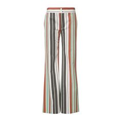 CHLOE' Striped Flared Trousers ($779) ❤ liked on Polyvore featuring pants, multi, chloe trousers, zipper trousers, stripe pants, pocket pants and zip pocket pants