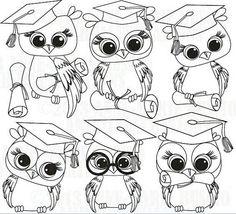 graduate owl images | Graduate owls colouring pages