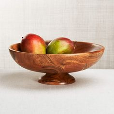 Carson Acacia Footed Fruit Bowl + Reviews | Crate and Barrel Crate And Barrel, Wooden Fruit Bowl, Wooden Bowls, Bowl Of Fruit, Storing Fruit, New Fruit, Lathe Projects, Wood Projects, Fruit Of The Spirit