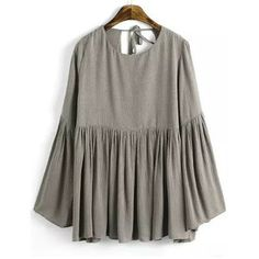 SheIn(sheinside) Khaki Bell Sleeve Knotted Loose Blouse