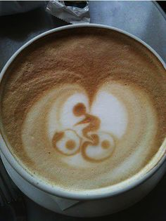 """Previous pinner """"cyclist in cappuccino foam. This barista needs a raise!"""" – no s… Previous pinner """"cyclist in cappuccino foam. This barista needs a raise!"""" – no shit! I'd be flipping out if I got this in my Coffee! Coffee Latte Art, I Love Coffee, Coffee Break, My Coffee, Coffee Shop, Coffee Cups, Bike Coffee, Drink Coffee, Coffee Lovers"""