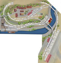 H0 Gleisplan mit dem C-Gleis: Leben und arbeiten am Fluss