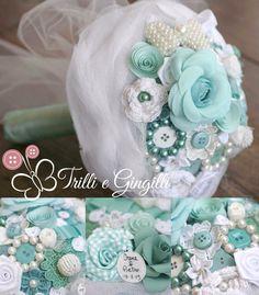 Bouquet sui toni del verde acqua, tiffany, menta, turchese by Trilli e Gingilli info@trilliegingilli.com - www.trilliegingilli.com