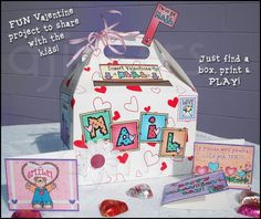 Want to make your very own 'Valentine Mailbox' with the kids this year? This kit includes everything you need to design & create a darling mailbox... plus you can print Valentine cards, frames, borders & MORE to go with it! These printables come in ready-to-go color... or in b&w so the kids can color the mailbox too! Perfect for kids, moms, teachers & classrooms!