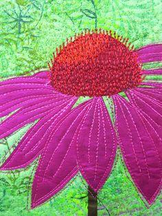 close up, Echinacea art quilt by Gillian Travis (UK)