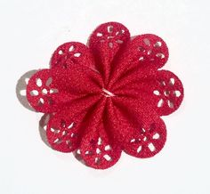 """Red 2"""" hollow eyelet petal flowers. For headband making, barefoot baby sandals, sewing. Fold over elastic, rhinestones, appliqués & more also available."""