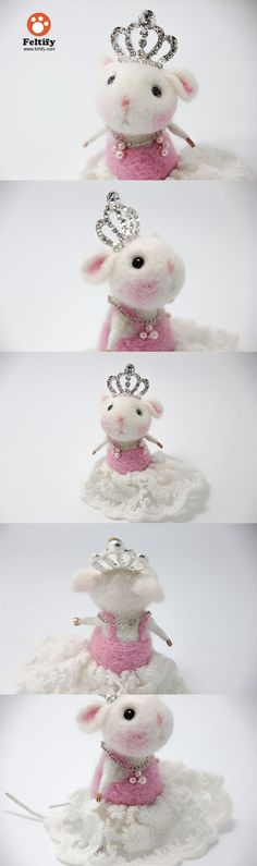 Needle Felted Felting Animals Cute Mice Mouse Princess