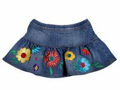 @Moschino denim skirt with flowers. #denim #moschino #SS14 #spring #summer #springsummer2014 #childrens #kids #childrenswear #kidswear #kidsfashion #girls #boys
