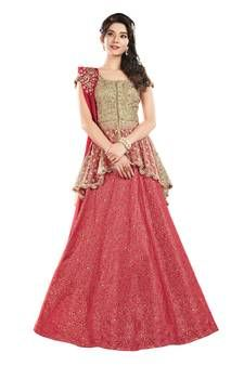 Lehenga blouse designs - Buy Cardinal Red A Line Lehenga Choli online from the wide collection of alinelehenga This Red colored alinelehenga in Art Silk fabric goes well with any occasion Shop online Designer alinele Indian Gowns Dresses, Indian Fashion Dresses, Indian Designer Outfits, Choli Designs, Lehenga Designs, Blouse Designs, Lehnga Dress, Lehenga Choli, Lehenga Blouse