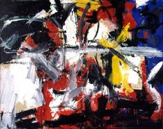 """""""La Magnifica Ossessione"""".  Emilio Vedova  (1919-2006) was a modern Italian painter, considered one of the most important to emerge from his country's artistic scene.  He participated in the Resistenza & contributing originally to the European avant-garde. His images represented the apprehension of the time, with his geometric shapes, and color palette."""