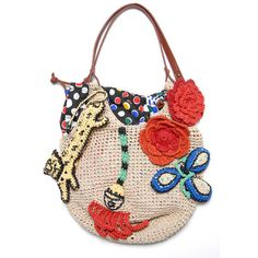 """Tsumori Chisato """"If you do not put Our Lord to the first row in your heart, you will both lose Him and the ones whom you put to the first row. Love Crochet, Diy Crochet, Basket Bag, Cute Bags, Knitted Bags, Crochet Fashion, Purses And Handbags, Straw Bag, Fancy"""