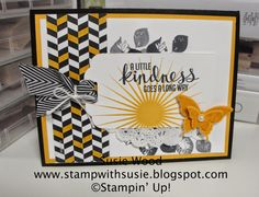 Stampin' Up!- A Black & White card using- 'Kinda Eclectic'!  Check out the Back to Black Designer Paper that I colored with my Crushed Curry Marker!  Cool huh!