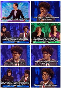 Richard Ayoade and Noel Fielding on Big Fat Quiz of the Year 2010 :D Richard Ayoade, Mock The Week, The Mighty Boosh, It Crowd, British Comedy, British Humour, Nerd, Noel Fielding, Comedy Show