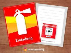 Einladungskarten Feuerwehr zur Kinderparty: kostenlose Vorlagen von der Einladungen zum Ausdrucken