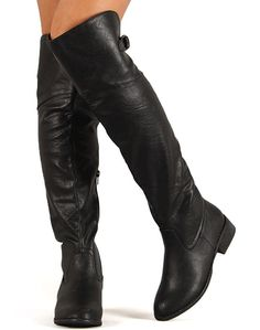 6bcc9bc7bb2 Nature Breeze Olympia-02 New Women Leatherette Round Toe Thigh High Riding  Boot