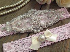 Wedding Garter SET  Bridal Garter  Pearl and by SimplyKateGrace