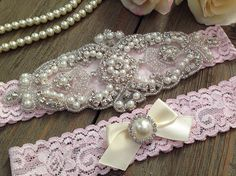 Wedding Garter SET  Bridal Garter  Pearl and by SimplyKateGrace