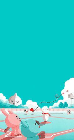 Wallpapers Tumblr, Tumblr Wallpaper, Bts Wallpaper, Cute Wallpapers, Iphone Wallpaper, Wallpaper Animes, Cartoon Wallpaper, Bts Backgrounds, Line Friends