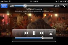 You can control the scrubbing rate of streaming video/audio by moving your finger down the screen.