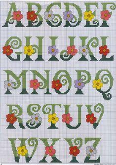 FREE Point Cruz: Alphabets with flowers Cross Stitch Alphabet Patterns, Embroidery Alphabet, Cross Stitch Letters, Cross Stitch Books, Cross Stitch Baby, Embroidery Fonts, Cross Stitch Flowers, Cross Stitch Charts, Cross Stitch Designs
