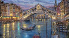 1920x1080 ночь, robert finale, last night on the grand canal, луна, живопись, венеция обои на рабочий стол 74056